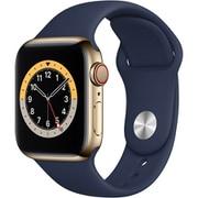 Apple Watch Series 6(GPS + Cellularモデル)- 40mmゴールドステンレススチールケースとディープネイビースポーツバンド [MJXM3J/A]