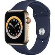 Apple Watch Series 6(GPS + Cellularモデル)- 44mmゴールドステンレススチールケースとディープネイビースポーツバンド [MJXN3J/A]