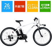 BE-ELH442F [電動スポーツバイク ハリヤ 26×1.90HE 外装7段変速 クリスタルホワイト]