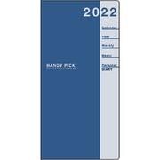 E1090 [限定 2022年1月始まり Handy pick(ハンディピック)ダイアリー ラージサイズ 週間+横罫 薄型 濃ブルー]