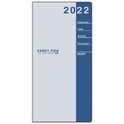 E1089 [限定 2022年1月始まり Handy pick(ハンディピック)ダイアリー ラージサイズ 見開き2週間 薄型 淡ブルー]