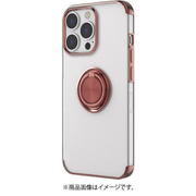 AC-P21P-MR PK [iPhone 13 Pro用 メタリックフレーム リング付きクリアバックカバー ピンク]