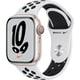 Apple Watch Nike Series 7(GPS + Cellularモデル)- 41mmスターライトアルミニウムケースとピュアプラチナム/ブラックNikeスポーツバンド - レギュラー [MKJ33J/A]