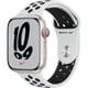 Apple Watch Nike Series 7(GPS + Cellularモデル)- 45mmスターライトアルミニウムケースとピュアプラチナム/ブラックNikeスポーツバンド - レギュラー [MKL43J/A]
