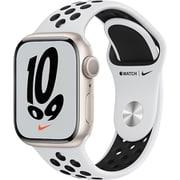 Apple Watch Nike Series 7(GPSモデル)- 41mmスターライトアルミニウムケースとピュアプラチナム/ブラックNikeスポーツバンド - レギュラー [MKN33J/A]