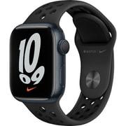 Apple Watch Nike Series 7(GPSモデル)- 41mmミッドナイトアルミニウムケースとアンスラサイト/ブラックNikeスポーツバンド - レギュラー [MKN43J/A]