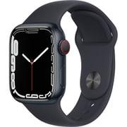 Apple Watch Series 7(GPS + Cellularモデル)- 41mmミッドナイトアルミニウムケースとミッドナイトスポーツバンド - レギュラー [MKHQ3J/A]
