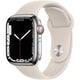 Apple Watch Series 7(GPS + Cellularモデル)- 41mmシルバーステンレススチールケースとスターライトスポーツバンド - レギュラー [MKHW3J/A]