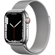 Apple Watch Series 7(GPS + Cellularモデル)- 41mmシルバーステンレススチールケースとシルバーミラネーゼループ [MKHX3J/A]