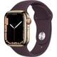 Apple Watch Series 7(GPS + Cellularモデル)- 41mmゴールドステンレススチールケースとダークチェリースポーツバンド - レギュラー [MKHY3J/A]