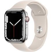 Apple Watch Series 7(GPS + Cellularモデル)- 45mmシルバーステンレススチールケースとスターライトスポーツバンド - レギュラー [MKJV3J/A]