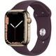 Apple Watch Series 7(GPS + Cellularモデル)- 45mmゴールドステンレススチールケースとダークチェリースポーツバンド - レギュラー [MKJX3J/A]