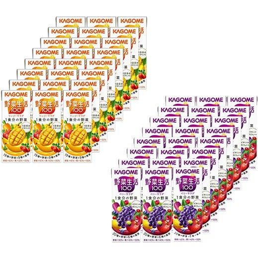 野菜生活マンゴーサラダ&ベリーサラダお買い得セット [カゴメ KAGOME 野菜生活100 マンゴーサラダ 200ml×24本 + 野菜生活 野菜生活 ベリーサラダ 200ml×24本 パック 野菜果汁飲料]
