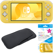 まとめ買いでお買い得!揃えて安心Nintendo Switch Liteセット [任天堂 Nintendo Switch Lite本体 イエロー+ブルーライトカットガラスフィルム+スリムソフトポーチ BK×BK]