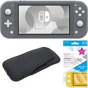 まとめ買いでお買い得!揃えて安心Nintendo Switch Liteセット [任天堂 Nintendo Switch Lite本体 グレー+ブルーライトカットガラスフィルム+スリムソフトポーチ BK×BK]