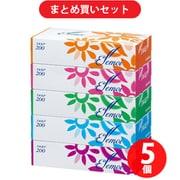 【らくらくカートイン】カミ商事 エルモア ティシュー 200組(400枚) 5箱パック 5個セット [ボックスティッシュ]
